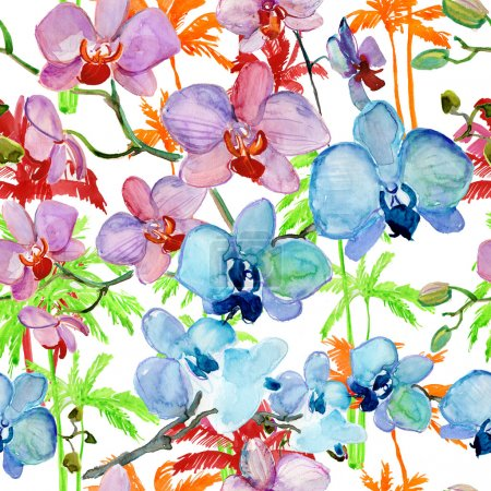 Seamless pattern with Orchids flowers and Palm trees