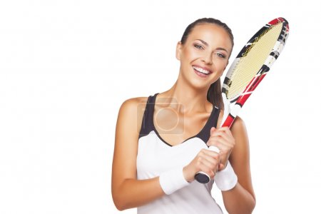Portrait Of Happy Smiling Female Tennis Player with Professional