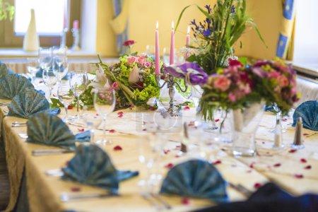 Restaurant Table Served for Wedding