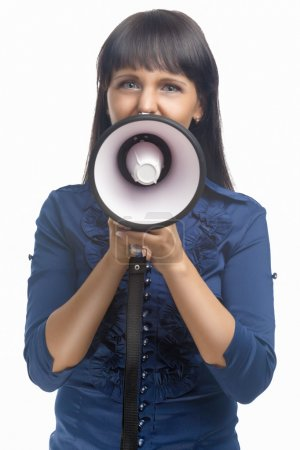 Portrait of Young Brunette Woman With Megaphone Sc...