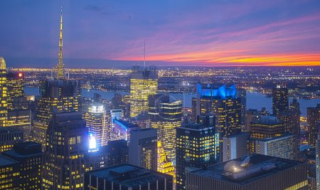 Photo pour New York City at Night. Aerial View. HDR Image. Horizontal Composition - image libre de droit