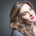 Sensual Brunette Woman Natural Portrait. Against G...