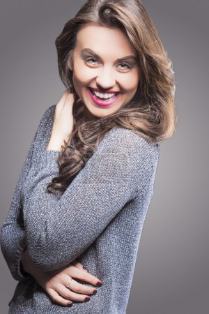 Smiling Happy Laughing Brunette Woman Portrait. Ag...