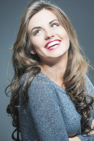 Happy Laughing Beautiful Young Woman  with Natural...