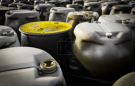 Plastic barrels of toxic waste at the dump