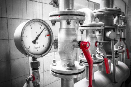 pressure gauge is an industrial pipe, valves, detail