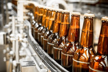 Photo for Beer bottles on the conveyor belt, brewery - Royalty Free Image