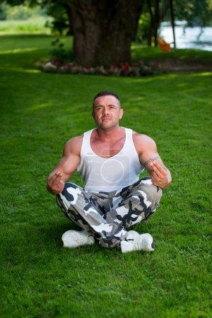 Bodybuilder Practicing Yoga