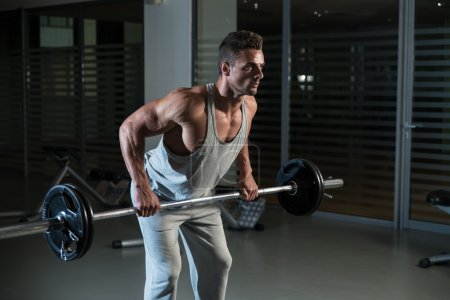 Photo for Man Doing Heavy Weight Exercise For Back - Royalty Free Image