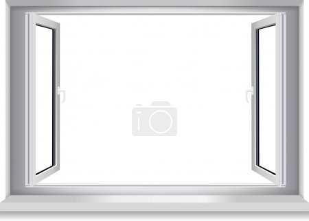 Illustration for Open window on white wall.Vector. - Royalty Free Image