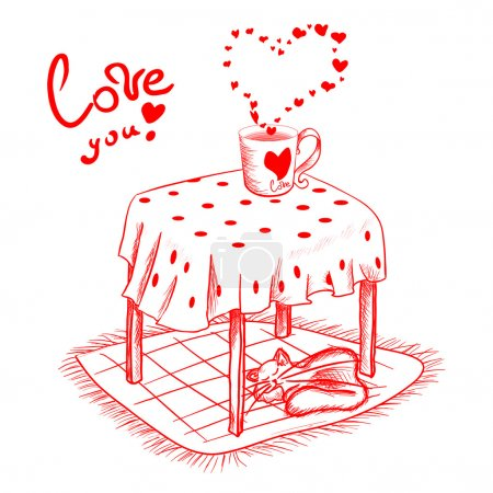Illustration for Red valentines Day Card in sketch style. - Royalty Free Image