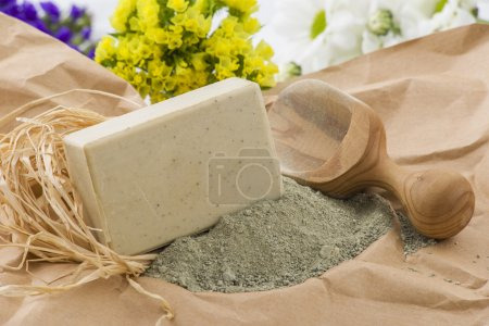 Piece of natural soap with herbs and flowers....