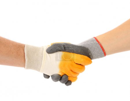 Two hands in gloves of hand shake