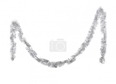 Photo for Christmas silver tinsel on white background - Royalty Free Image
