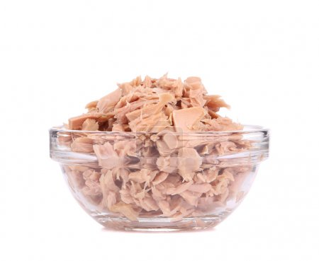 Canned tuna in glass bowl.
