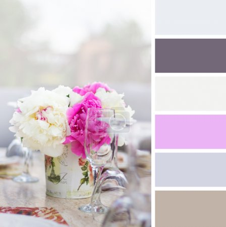 Peony in a vase and glasses , colour palette swatches.