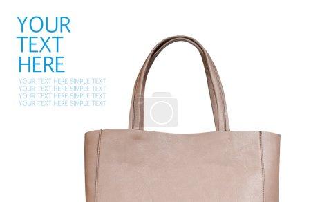 Beige female bag isolated on white background