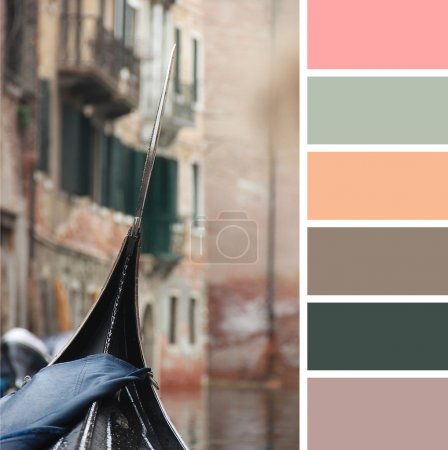 A view from gondola during the ride through the canals of Venice in Italy. colour palette swatches.