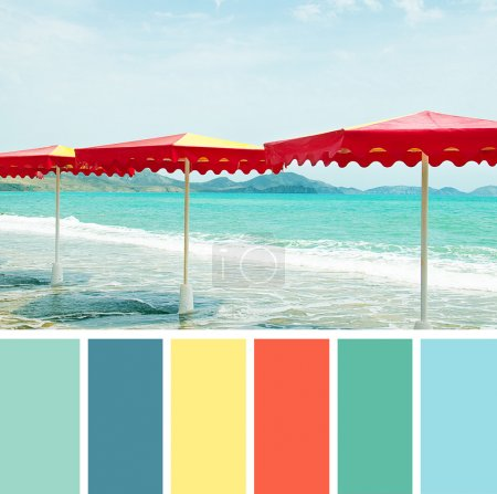 Yacht in the sea , colour palette swatches.