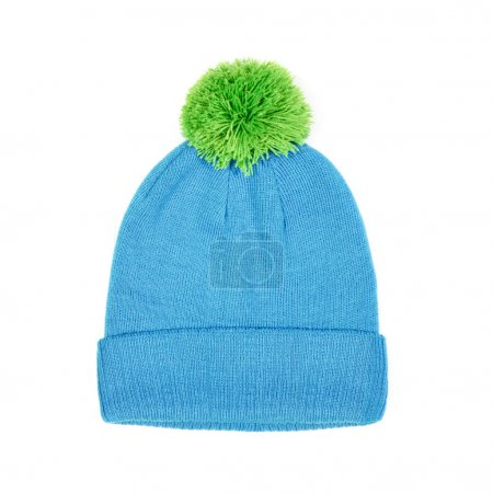green winter cap isolated on white background