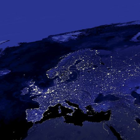 Photo for This image of Europe city lights was created with data from the Defense Meteorological Satellite Program (DMSP) Operational Linescan System (OLS). - Royalty Free Image