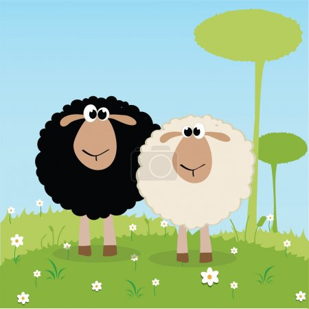 Illustration for White and black sheep on special background - Royalty Free Image