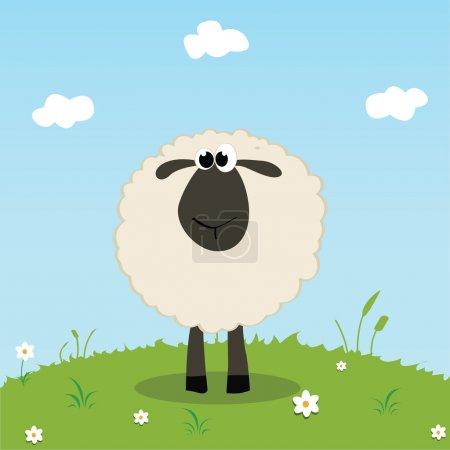 Illustration for Sheep on field background, vector illustration - Royalty Free Image