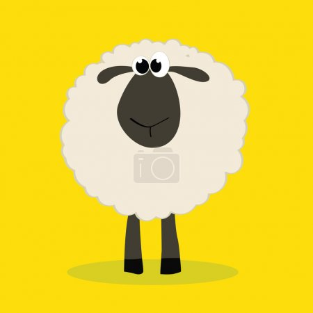 Illustration for Sheep with shadow on yellow background - Royalty Free Image