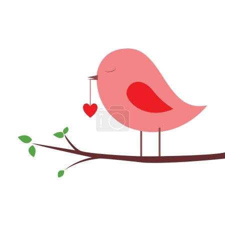 Illustration pour Oiseau rose avec un coeur sur fond blanc - image libre de droit