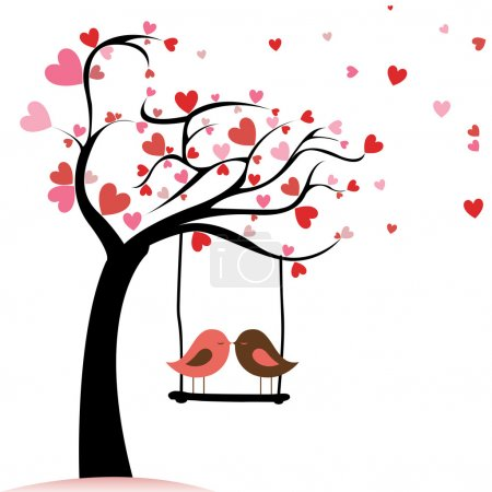 Illustration for Two birds in love on abstract tree with heart leaf - Royalty Free Image