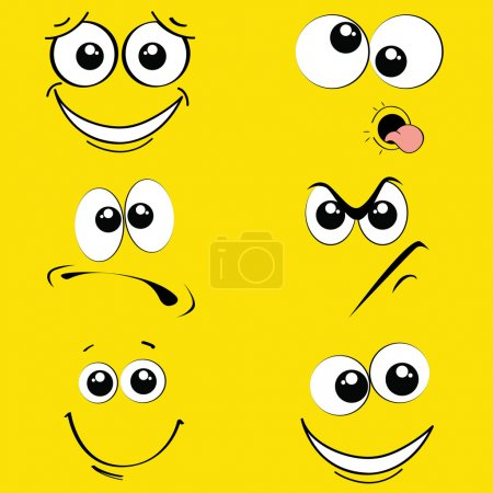 Illustration for Different expression face on yellow background - Royalty Free Image