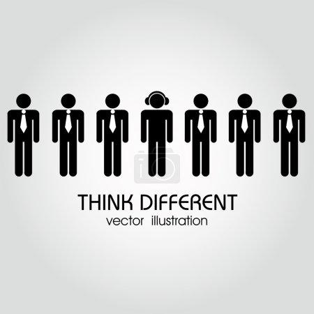 Illustration pour Différentes personnes portant les mêmes vêtements et une personne portant des vêtements différents - image libre de droit