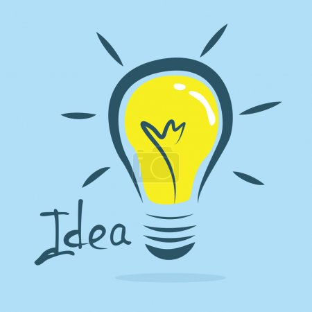 Illustration for Abstract cartoon bulb representing an idea on blue background - Royalty Free Image