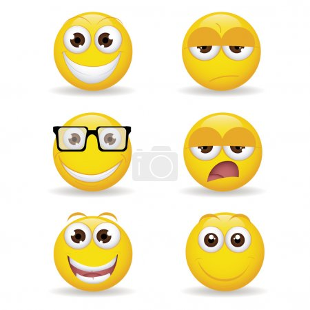 Illustration for Different yellow expression emoticon on white background - Royalty Free Image