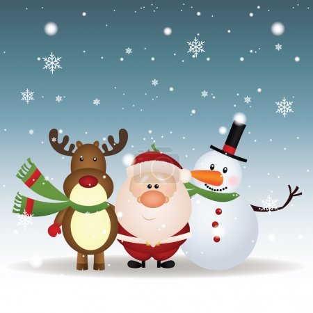 Illustration for Abstract reindeer, Santa Claus and snowman on special christmas background - Royalty Free Image