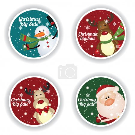 Illustration for Christmas big sale labels on special background - Royalty Free Image
