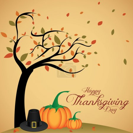 Illustration for Abstract cartoon pumpkin and hat on special thanksgiving day background - Royalty Free Image
