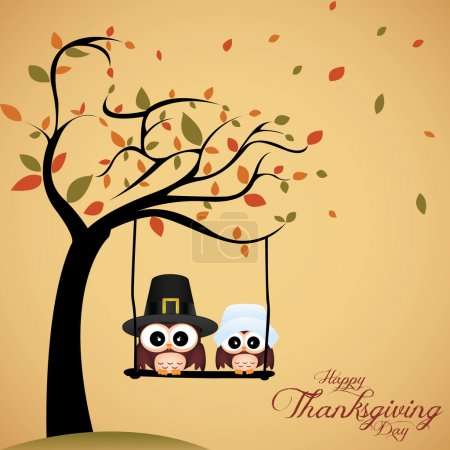 Illustration for Abstract cute owls on special thanksgiving day background - Royalty Free Image