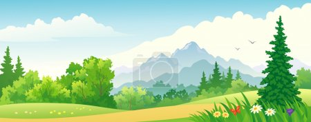 Illustration for Vector illustration of a forest on the mountains. - Royalty Free Image