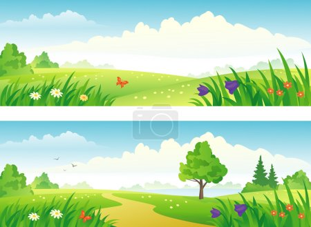 Illustration for Vector beautiful summer scenics banners. - Royalty Free Image