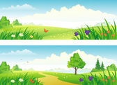 Vector beautiful summer scenics banners