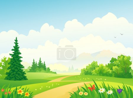 Illustration for Vector illustration of a beautiful forest at the mountains. - Royalty Free Image