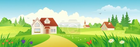 Illustration for Vector beautiful country landscape. - Royalty Free Image