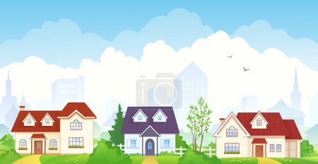 Illustration for Vector illustration of summer suburbs. EPS 10: transparency used. - Royalty Free Image