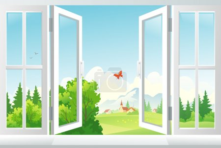 Illustration for Vector illustration: open window with a landscape view. EPS 10: transparency used. - Royalty Free Image