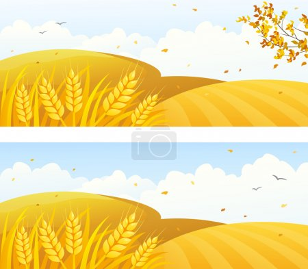 Illustration for Vector autumn backgrounds with crop fields and falling leaves - Royalty Free Image
