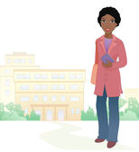 Vector illustration of an african girl student at the school