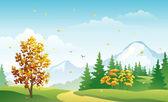 Vector illustration of a fall landscape