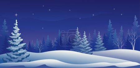 Illustration for Vector illustration of a beautiful winter night forest. - Royalty Free Image
