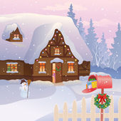 Vector illustration of a Christmas cottage with a full mailbox and a little girl at the door